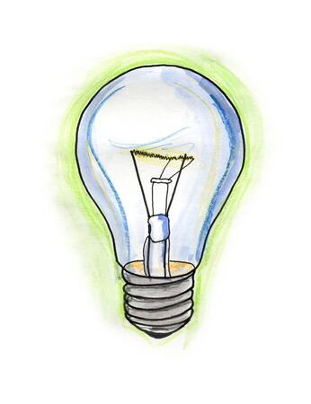 Hand drawn illustration of a bulb on white background