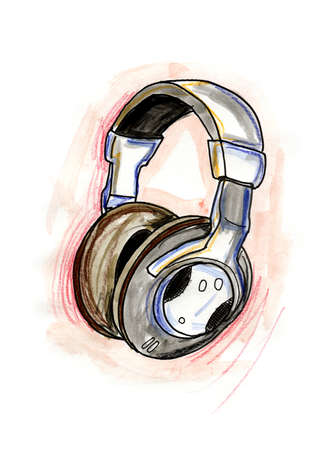 Hand drawn illustration of headphones on white background Stock Photo