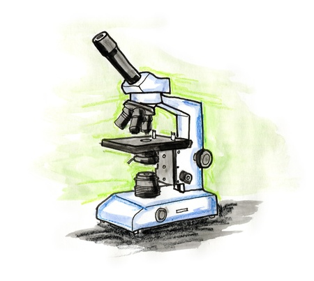 Hand drawn illustration of a microscope on white background Stock Photo