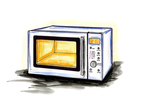 Hand drawn illustration of a microwave oven on white background
