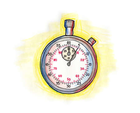 Hand drawn illustration of a stopwatch on white background Stock Photo
