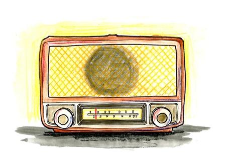Hand drawn illustration of a vintage radio on white background illustration