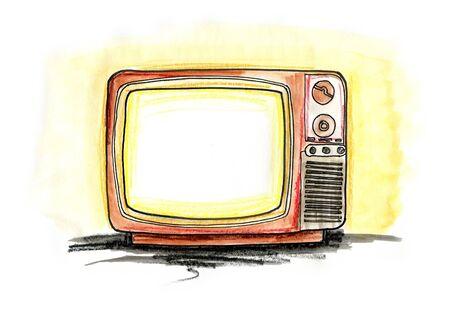 Hand drawn illustration of a vintage TV on white background illustration