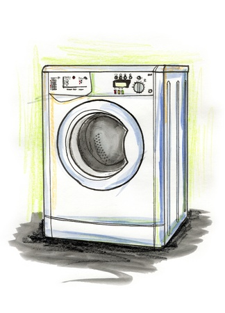 Hand drawn illustration of a washing machine on white background