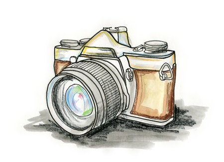 photo equipment: Hand drawn illustration of a photo camera on white background