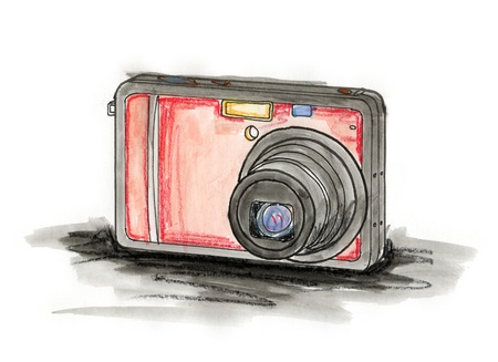 Hand drawn illustration of a compact digital camera on white background Stock Photo