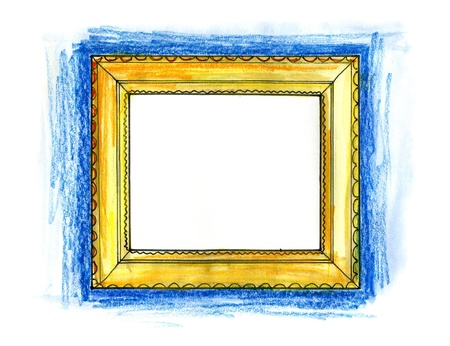 Hand drawn illustration of a picture frame on white background Stock Photo