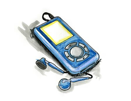 Hand drawn illustration of a MP3 player on white background illustration