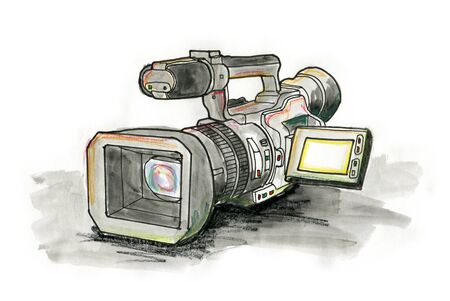 Hand drawn illustration of a video camera on white background