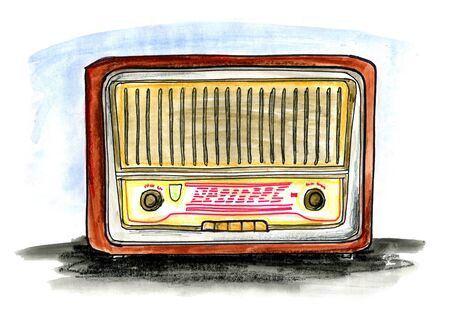 Hand drawn illustration of a vintage radio on white background