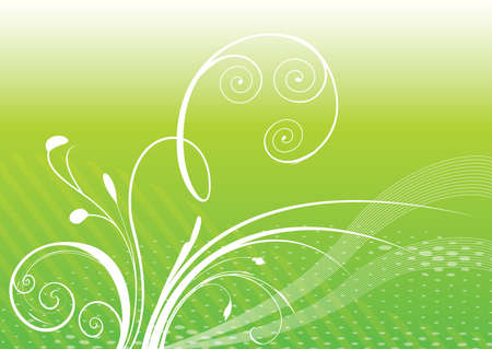 Green background with white plant Illustration