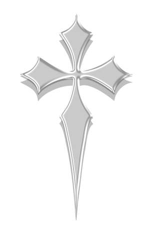 silver cross isolated in white Stock Photo