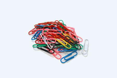 Isolated  dollop of color paper clips