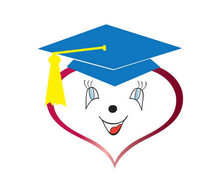 Graduation heart isolated in white background