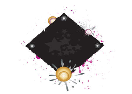 Black board with color rounds and stars Vector