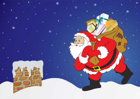 Christmas night, Santa Claus with presents in a chimney. Vector