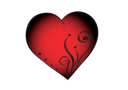 red isolated heart with four dots and ornament.