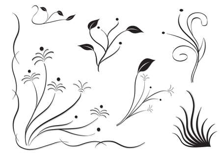 set of silhouettes of different flowers in white background. vectorová draft for various uses.