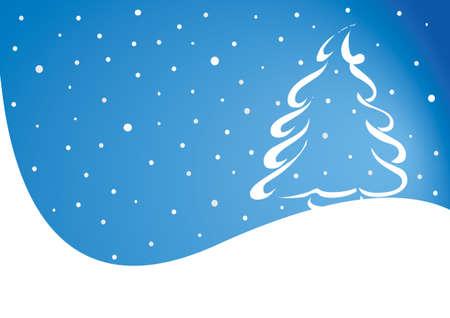 Christmas theme. white wave with christmas hree and snow.