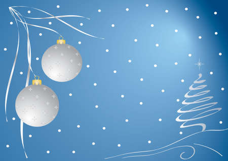 christmas card. Christmas decorations with stars, tree and snow