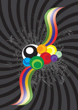 colored circles and stripes in black background