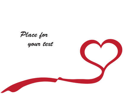 red heart in white with space for your text
