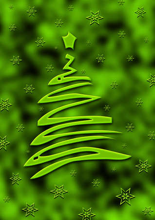 Green Christmas card with a green Christmas tree in a green background. Stock Photo