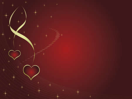 Valentines card with two hearts and stars. Space for text Vector