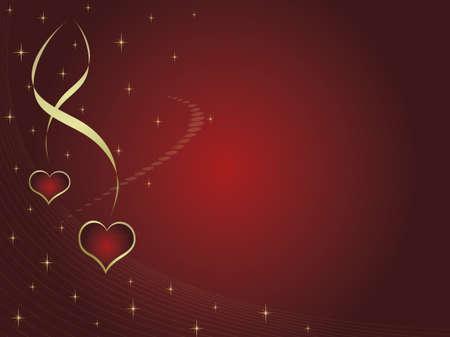 Tarjeta de San Valentín con dos corazones y estrellas. Espacio para el texto