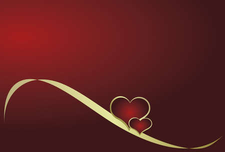 Heart with ribbon on a red background Vector