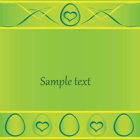 green easter card with eggs, lines, banner, space for text.