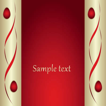 red background with decorative banner.