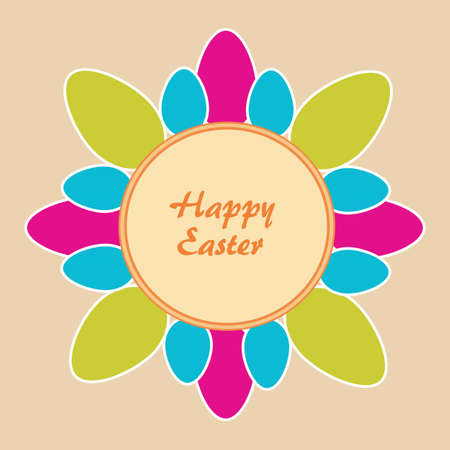 Beige background with Easter motif   Vector