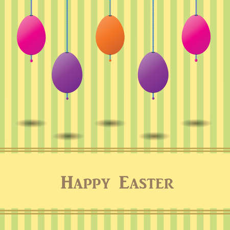 Easter Card With Colorful Eggs and striped background, Retro style