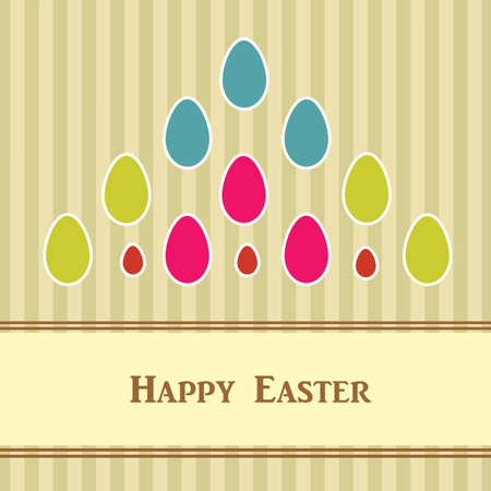 Easter card with colorful eggs  Vector
