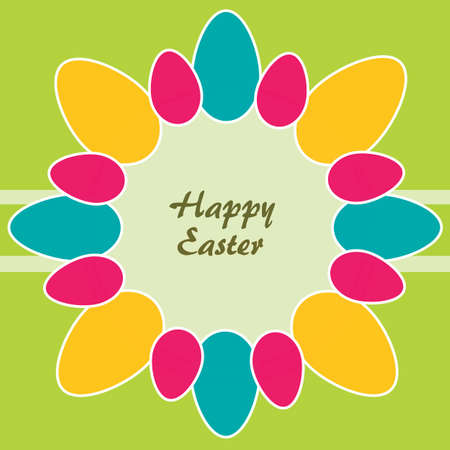 Easter theme  Circle of colored Easter eggs  Vector
