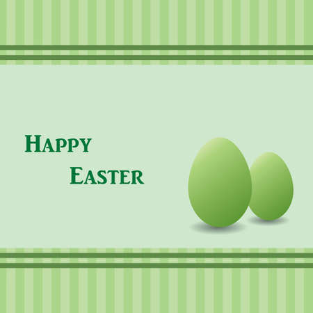 Green easter card with two green eggs, striped background  Space for text