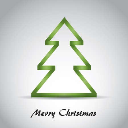 Christmas card with green christmas tree