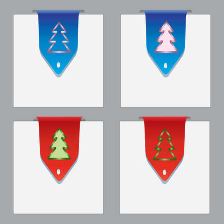 Colorful paper bookmarks with christmas theme  Blue and red labels  Vector