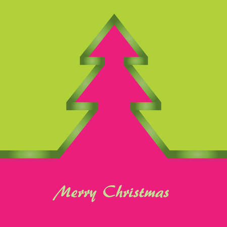 Christmas card with green and pink background, christmas tree