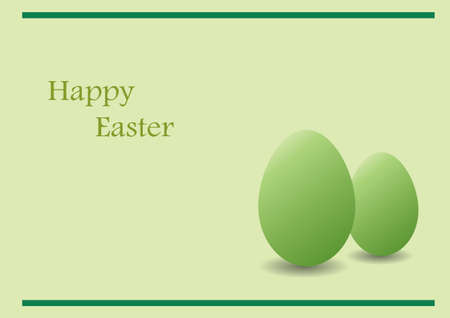 Green Easter card with green eggs and text Illustration