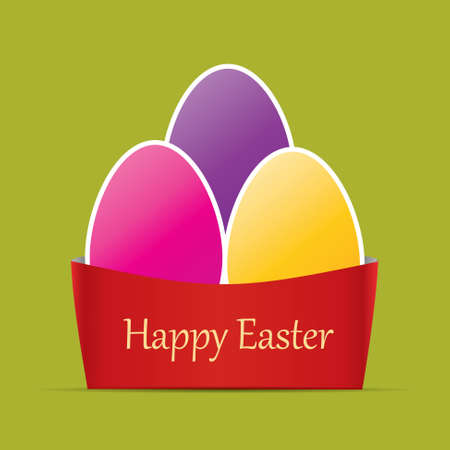 colorful easter card. Three easter eggs.