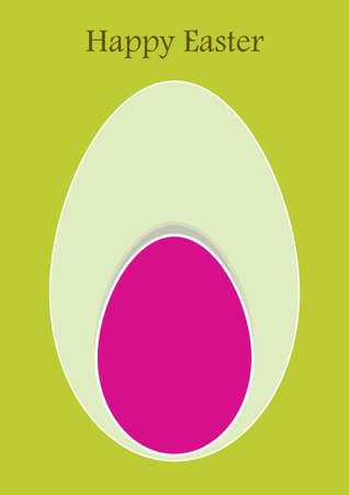 green easter card with pink egg
