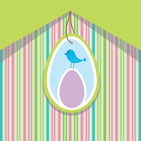 Green spring card with striped background, wto eggs and blue bird