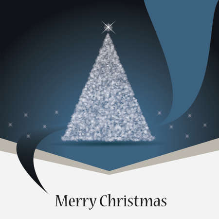 Christmas card with a blue ribbon  Christmas tree and stars