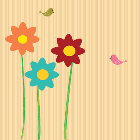 Flower card with striped background and two birds  Illustration