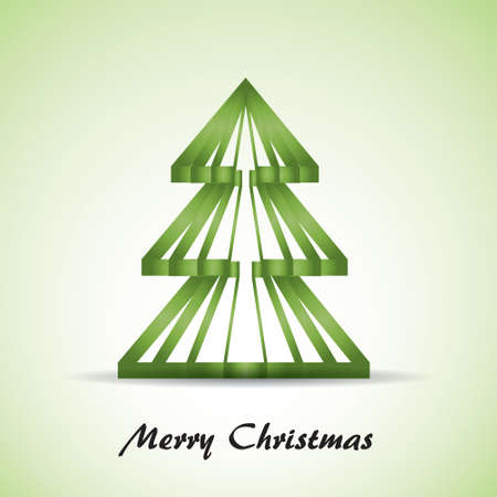 Green Christmas tree in white and green background  Vector eps10