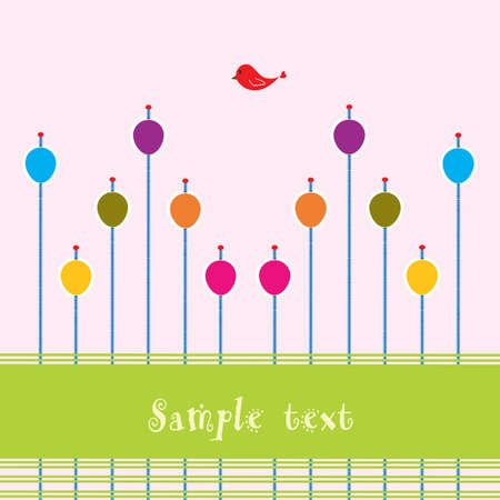 Pink background with colorful eggs, red bird and space for text   Illustration