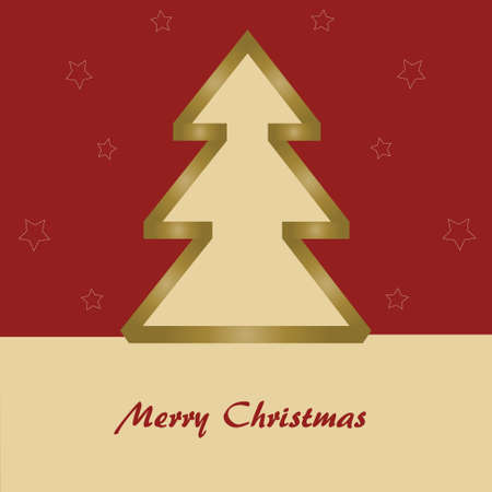 Red christmas card with christmas tree on red background