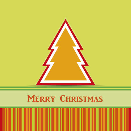 christmas card with stripes and green background